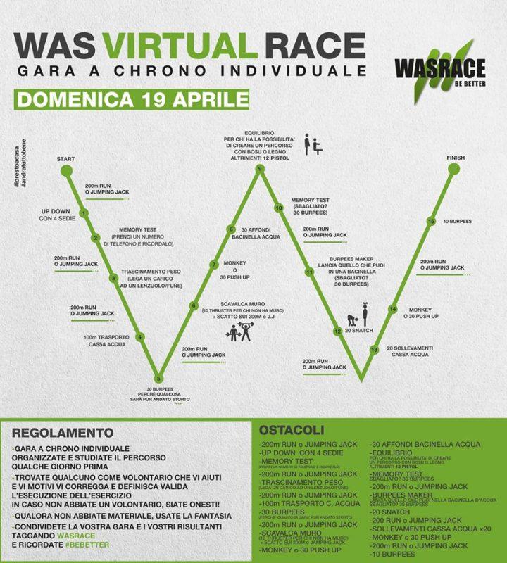 La WAS RACE è stata posticipata per CoronaVirus, ed è stata sostituita dalla VIRTUAL Was Race. Un percorso da fare a casa, con attrezzi di cui puoi disporre